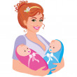 Royalty-Free Stock Vector Image: Illustration mum with the two children