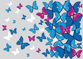 Background with blue butterflies fly away — Stock Vector