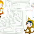 Stock Photo: Little red riding hood labyrinth