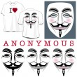 Anonymous Faces in Black, Color and T-shirts - Stock Vector