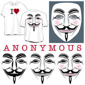 Anonymous Faces in Black, Color and T-shirts — Stock Vector