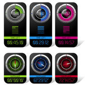 Digital Chronometer and Compass Displays — Stock Vector