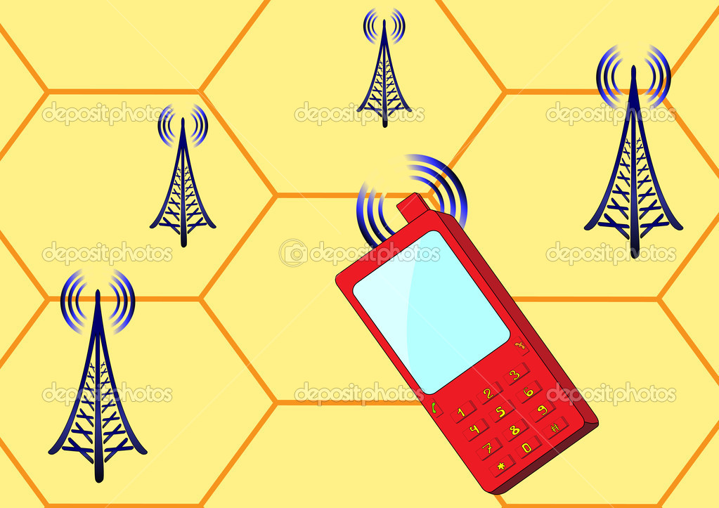 Cellular telephone and radio stations send signals to each other — Stock Vector #10837353
