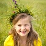 Girl with wreath — Stock Photo