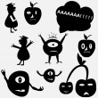 Cartoon funny monsters silhouettes — Stock Vector