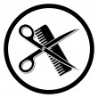 Haircut or hair salon symbol — Stock Vector