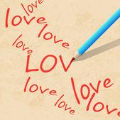 Bleistift auf papier, schreiben sie die wort liebe — Stockvektor