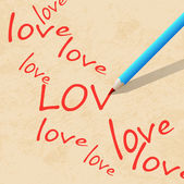 Pencil on paper, write the word love — Stock Vector