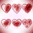 Vettoriale Stock : Set of scribble hearts