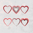Stock Vector: Set of scribble hearts