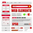 Hi-End Web Interface Design Elements Red Version 2: buttons, menu, progress bar, radio button, check box, login form, search, pagination, icons, tabs, calendar. — Vettoriali Stock
