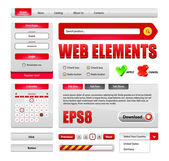 Hi-End Web Interface Design Elements Red Version 2: buttons, menu, progress bar, radio button, check box, login form, search, pagination, icons, tabs, calendar. — Vetor de Stock