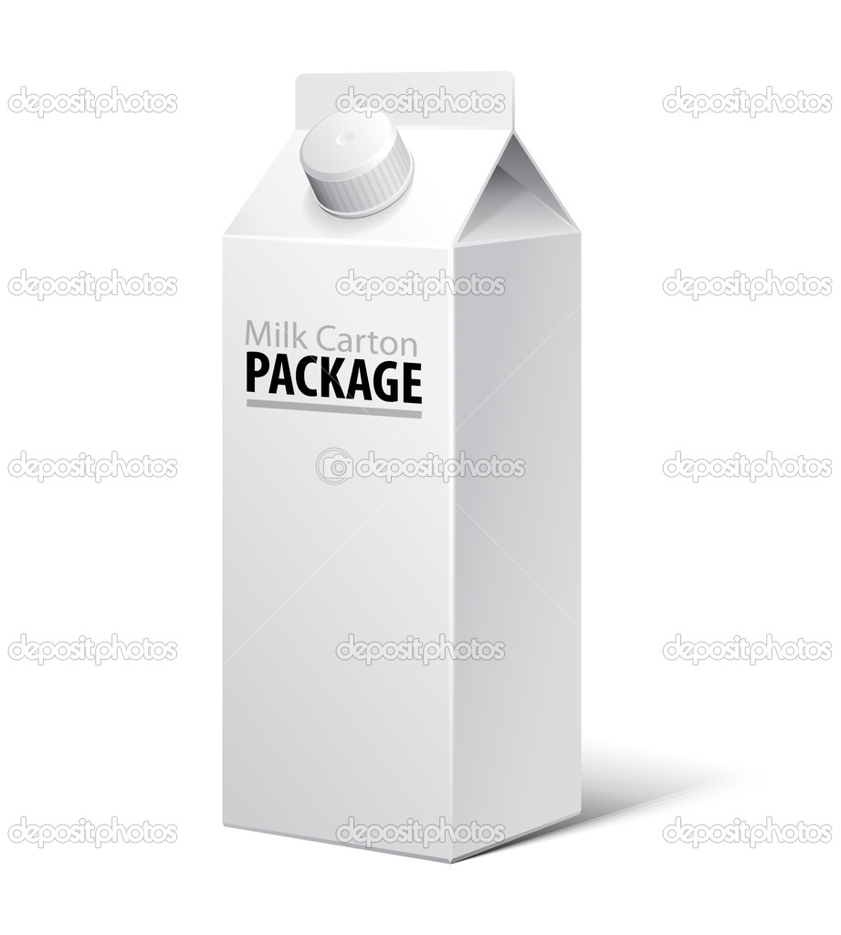 3D Milk Carton Packages Blank White With Lid: EPS10 — Stok Vektör #11535891