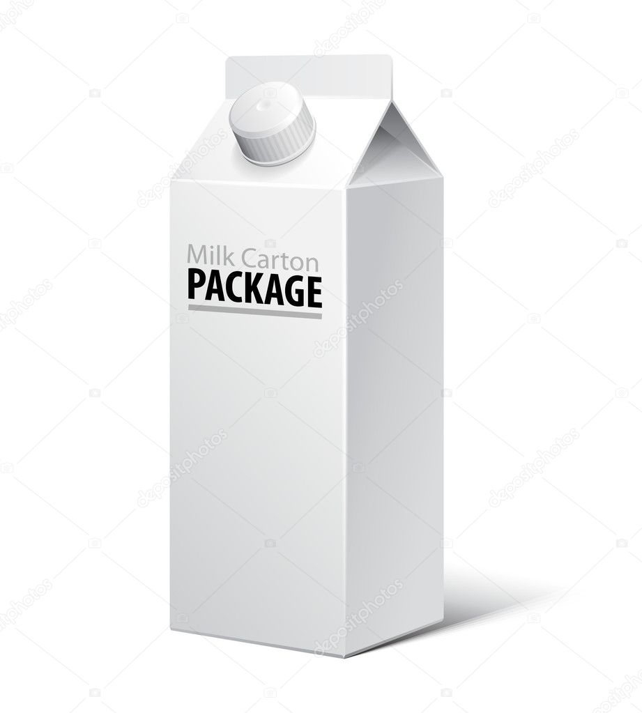 3D Milk Carton Packages Blank White With Lid: EPS10 — Vettoriali Stock  #11535891