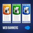 Special Offer Banner Set Vector Colored 13: Blue, Yellow, Orange, Green. Showing Products Purchase Button — Stock Vector
