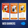 Special Offer Banner Set Vector Yellow Orange 19: Showing Products Purchase Button — Stock Vector