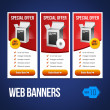 Special Offer Banner Set Vector Red 20: Showing Products Purchase Button Box CD DVD — Stock Vector