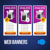 Special Offer Banner Set Vector Violet Purple 18: Showing Products Purchase Button — Vettoriale Stock