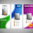 Special Offer Web Banner Set Vector Website Colored 22: Blue, Purple, Violet, Green. Showing Products Purchase Button, Label, Sticker — Stock Vector