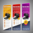 ストックベクタ: Special Offer Banner Set Vector Colored 8: Yellow, Red, Purple, Violet. Showing Products Purchase Button