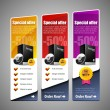 Vettoriale Stock : Special Offer Banner Set Vector Colored 8: Yellow, Red, Purple, Violet. Showing Products Purchase Button