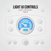 Light UI Controls Web Elements 5: Buttons, Switchers, On, Off, Player, Audio, Video, Volume, Speed Indicator, Speedometer — Stock Vector