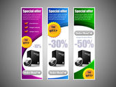 Special Offer Banner Set Vector Colored 9: Blue, Purple, Violet, Green. Showing Products Purchase Button — Vecteur