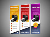 Special Offer Banner Set Vector Colored 8: Yellow, Red, Purple, Violet. Showing Products Purchase Button — Stock Vector