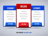 Web Banners Boxes Hosting Features Plans Or Pricing Table For Your Website Design Blue Red: Banner, Order, Button, Box, List, Bullet, Buy Now — Stock Vector
