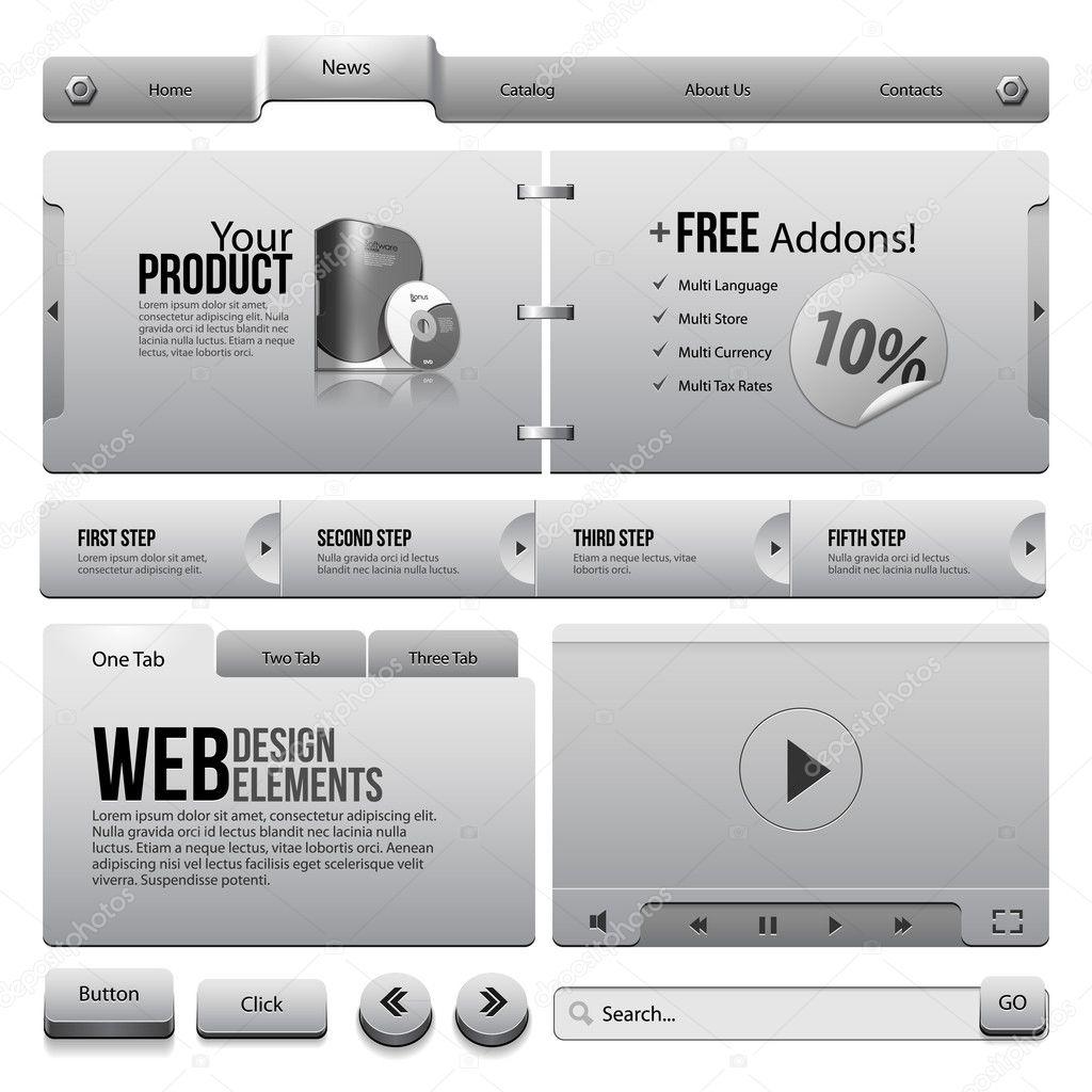 navigation bar box video player template web stock vector