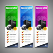 Special Offer Banner Set Vector Colored: Blue, Purple, Violet, Green. Showing Products Purchase Button — Stock Vector