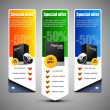 Special Offer Banner Set Vector Colored 10: Blue, Green, Yellow. Showing Products Purchase Button — Stock Vector #11702472
