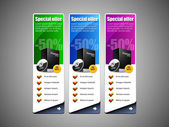 Especial establecido vector oferta bandera de colores: azul, púrpura, violeta, verde. mostrando productos botón compran — Vector de stock