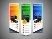 Special Offer Banner Set Vector Colored 10: Blue, Green, Yellow. Showing Products Purchase Button — Stock Vector