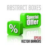 3D Plastic Abstract Banners Set Green — Stock Vector