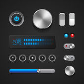 Hi-End User Interface Elements: Buttons, Switchers, On, Off, Player, Audio, Video: Play, Stop, Next, Pause, Volume, Equalizer, Power, Screen, Track — Stock Vector