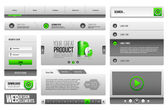 Moderne saubere website-design-elemente grau grün 3: knöpfe, form, schieberegler, scroll-, karussell, symbolen, menü, navigationsleiste, download, paginieren, video, spieler, reiter, akkordeon, suche — Stockvektor