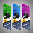 Special Offer Banner Set Vector Colored 25: Blue, Purple, Violet, Green. Showing Products Purchase Button Order Now — Stock Vector