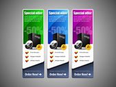Special Offer Banner Set Vector Colored: Blue, Purple, Violet, Green. Showing Products Purchase Button — Stockvector