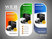 Special Offer Banner Set Vector Colored: Blue, Green, Yellow. Showing Products Purchase Button — Stock Vector
