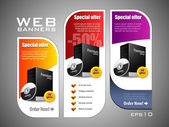 Special Offer Banner Set Vector Colored 11: Yellow, Purple, Violet, Red. Showing Products Purchase Button — Vecteur