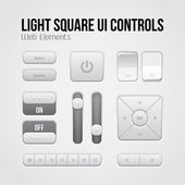 Ljus square ui kontroller webb-element: knappar, switchers, på, av, spelaren, audio, video: spela, stopp, nästa, paus, volym, equalizer, pilar — Stockvektor