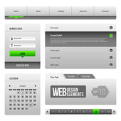 Modern Clean Website Design Elements Grey Green Gray 3: Buttons, Form, Slider, Scroll, Carousel, Icons, Menu, Navigation Bar, Download, Pagination, Video, Player, Tab, Accordion, Search, — ストックベクタ