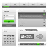 Moderne saubere website-design-elemente grau grün 3: knöpfe, form, schieberegler, scroll-, karussell, symbolen, menü, navigationsleiste, download, paginieren, video, spieler, reiter, akkordeon, suche, — Stockvektor