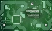 Placa de circuito impresso vector fundo verde eps10 — Vetorial Stock