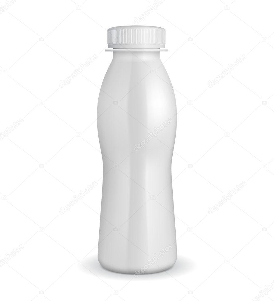 3D White Yogurt Plastic Bottle Plastic Bottle Vector