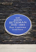 Sir John Betjeman Plaque in London — Stock Photo
