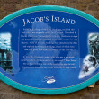 Stock Photo: Plaque marking location of Jacob's Island