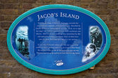 Plaque marking the location of Jacob's Island — Stock Photo