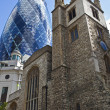 St Andrew Undershaft Church and the Gherkin — Stock Photo